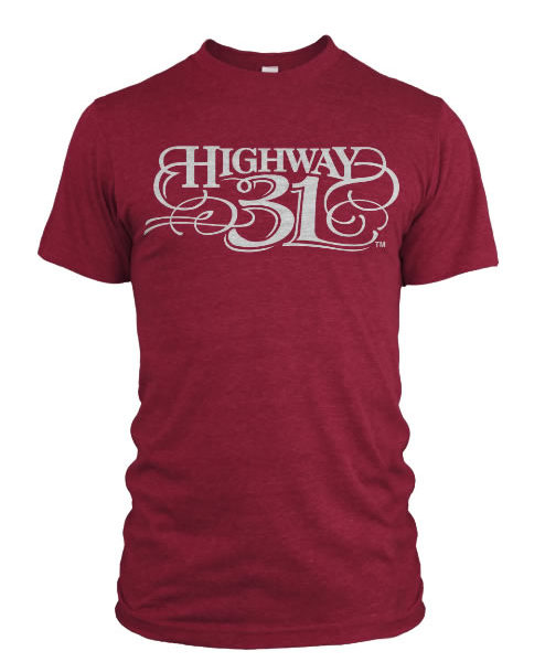 Highway 31 Script T-Shirt Cherry Read