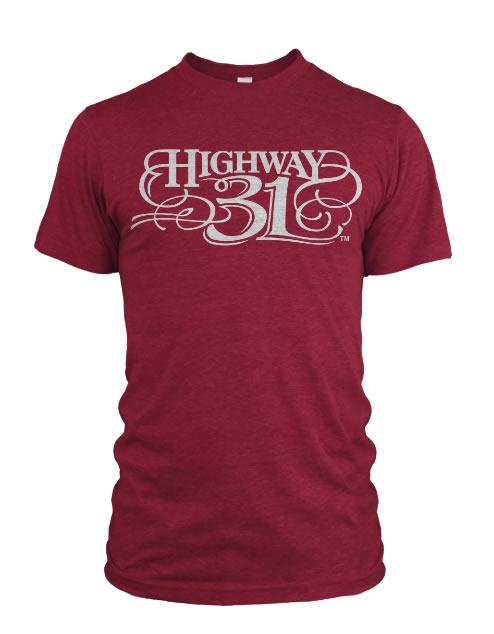 Highway 31 Script T-Shirt Cherry Read
